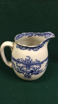 Royal Doulton Flow Blue Watteau Pitcher 5 inches tall Verona, 15147