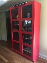 Red and black wooden display cabinet Alpharetta, 30005