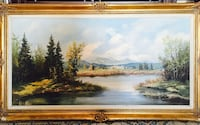 Large signed landscape oil painting on canvas (frame is chipped) Toronto, M2R 3N1