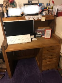 Antique Computer desk with lighted hutch