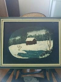 white and black house painting with black wooden frame Kitchener, N2A 2H5