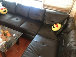 L-Shaped Sofa with Ottoman and Coffee table