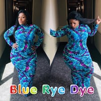 Plus size Tye Dye Long Mesh Dress