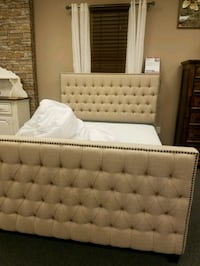 tufted white leather bed headboard Las Vegas, 89109