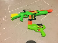 Green and orange nerf guns
