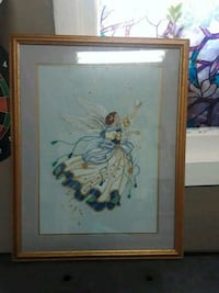 white and blue flower painting with brown wooden frame Stockton, 95204