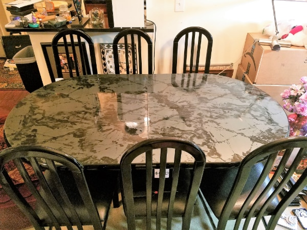 Black Lacquer Dining Table With Six Chairs And Extender All Inclusive