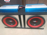 two black and red Pioneer subwoofers Aurora, 80011