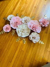8 large paper flower set for nursery, wedding and birthday backdrop wall.. wall d Newark, 07104