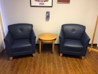 Office Furniture - Blue Chairs and small round table FORTLAUDERDALE