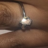 Diamond Engagement Ring: Shiny 1/2 Carat Solitaire + 14k White Gold Silver Spring, 20901