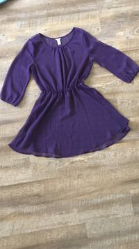 women's purple scoop-neck 3/4 sleeve blouse