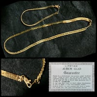 """18k gold clad flat braid chain 16"""" necklace and bracelet $50"""