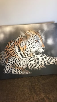 """White and brown leopard photo frame 34x46"""""""