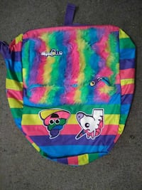 blue, pink, yellow, and green backpack