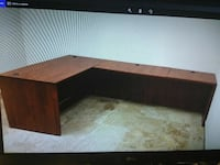 brown wooden L-shape desk screengrab San Jose, 95112