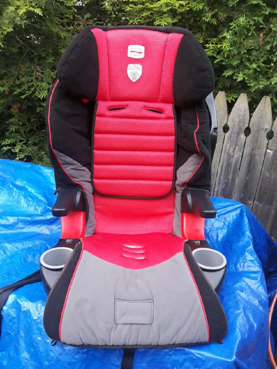 toddler's black and red car booster seat
