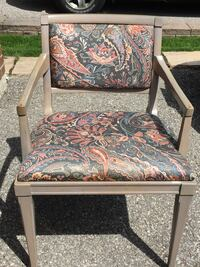 brown wooden framed brown and green floral padded armchair THORNHILL