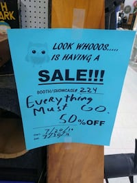 Everything must go sale 50 percent off all items Loves Park, 61111