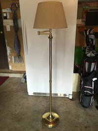 Stainless steel lamp base with brown lamp shade Floor Lamp