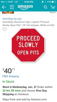 red and white Proceed Slowly Open Pits signage screenshot Murfreesboro, 37127