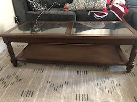 Vintage wood and glass coffee and end table set
