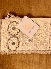 Daisy Fuentes Off-White Beaded Sequin Jewelry Bag Cosmetic Pouch