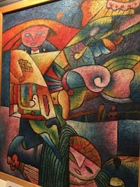 Synthetic cubism art painting on canvas signed bill long McLean, 22101