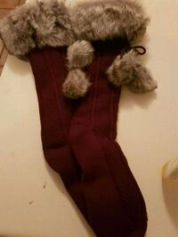 Faux fur couture sock slippers