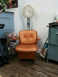 brown wooden framed brown leather padded armchair Burlington, L7P 1H4