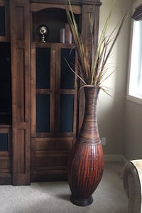 Tall brown wooden vase Chestermere, T1X