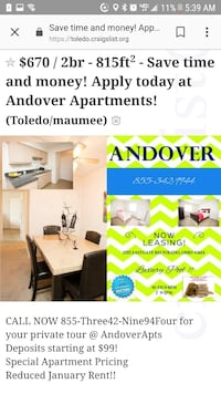 APT For Rent 2BR 1BA Toledo