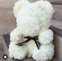 40cm White Rose Teddy Bear Birthday Gift Anniversary Girlfriend