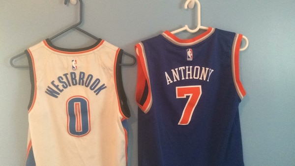 new product 75f5c 5200c Used Russell Westbrook OKC Nike Jersey/Carmelo Anthony NYK ...