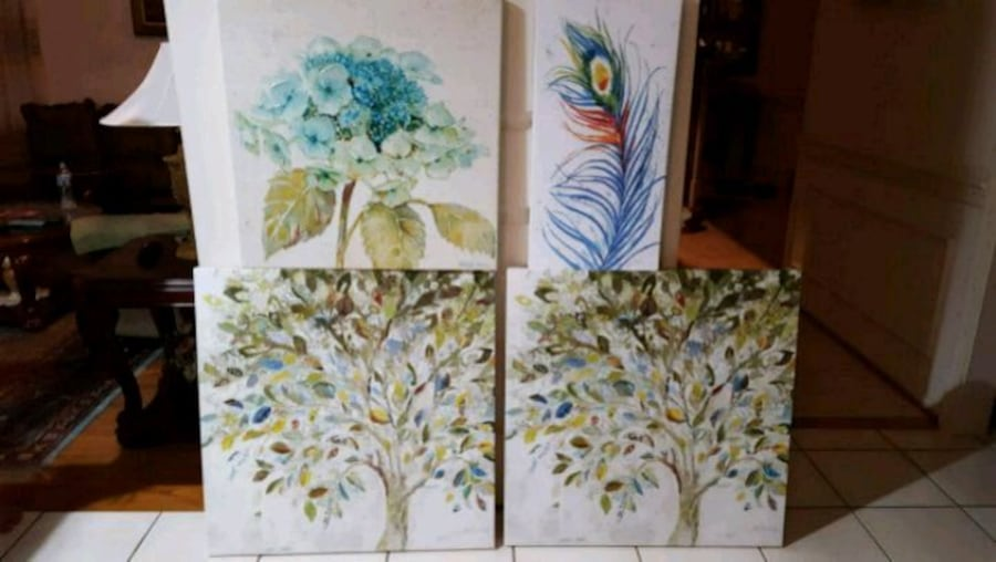 4 pieces of large hand painted art on canvas, $75 each 39ced442-e00e-49db-b198-24f58c93fe3b