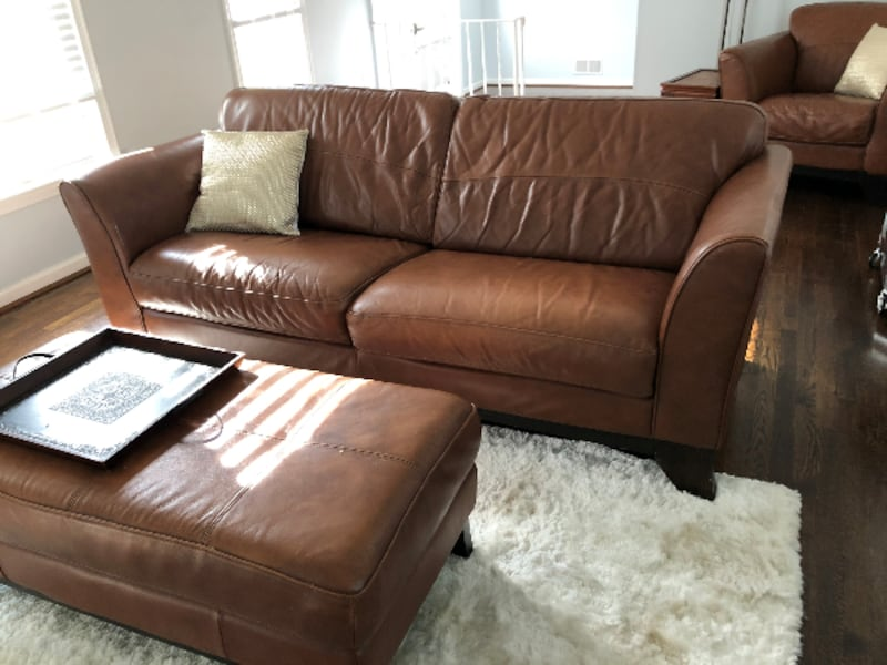 Leather Couch, Chair and Coffee Table c67f5d1a-bd49-489f-8ccd-de552535e4bf