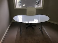 White wooden table with white office rolling chair Mc Lean, 22101