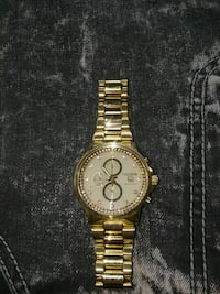 round gold-colored chronograph watch with link bracelet Anderson, 46016