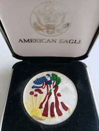 2001 US Mint American Eagle 1 Oz Coloured Enameled Silver Coin