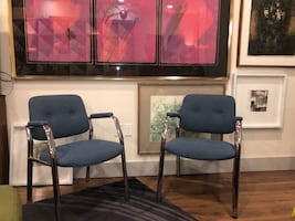 Pair of Steelcase Chrome Frame Upholstered occasional chairs.