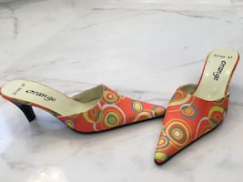 Summer orange retro print kitten heel mule shoes