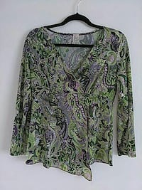 Women's green, black, and gray floral long sleeve top