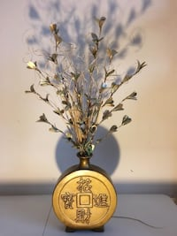 Home Décor:  Shimmery Golden Floral Arrangement in Asian Inspired Style Vase  Lansdowne