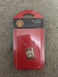 silver plated man united men's necklace