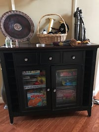 black wooden mini sideboard with decorations Ashburn