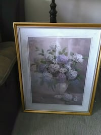 pink and white flower painting with brown wooden frame Maple Ridge, V2X 3J2
