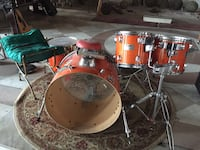 Mapex Drum kit.  With some cymbals. Some hard wear.  Sticks. Drum rug.