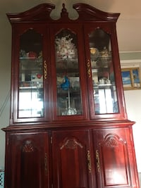 Brown wooden framed glass display cabinet White Plains, 20695