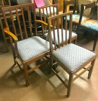 four brown wooden framed white padded chairs Oakland, 94610