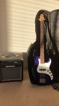 purple electric bass guitar and Drive amplifier with gig bag Lancaster, 93536